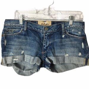 Hollister Mid Wash Distressed Denim Shorts Size 7